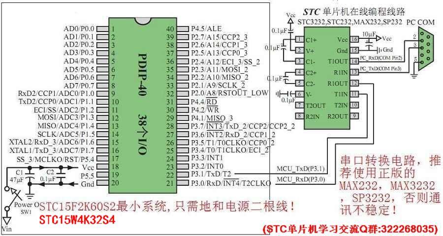 stc 51单片机最小系统(stc15/stc89/stc90/stc12c5a60s2系列)